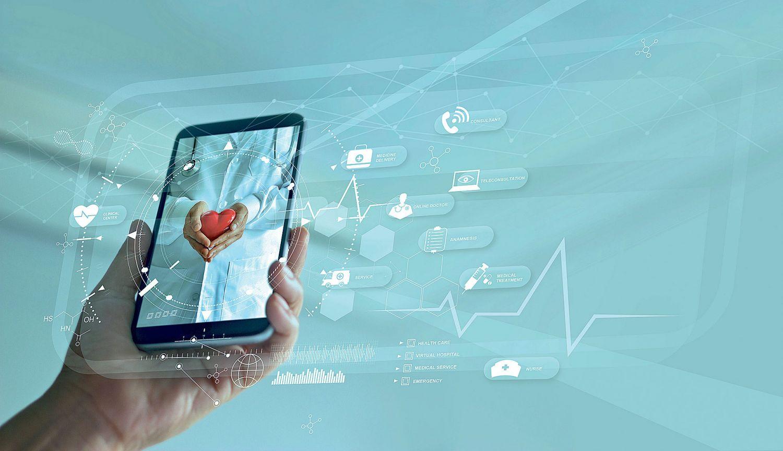 Darstellung von einem Smartphone mit Hologrammen.